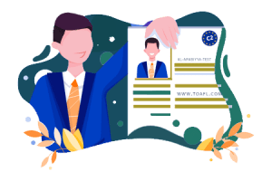 Arabisch Zertifikat Illustration shows a silhouette of a man holding a C2 certificate for application purpose in hand